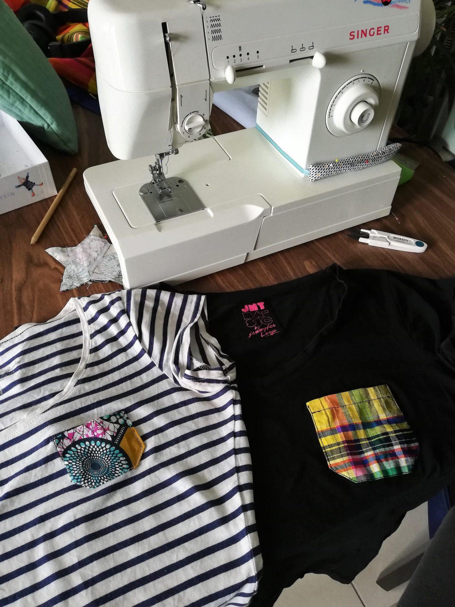Application des poches sur t-shirt