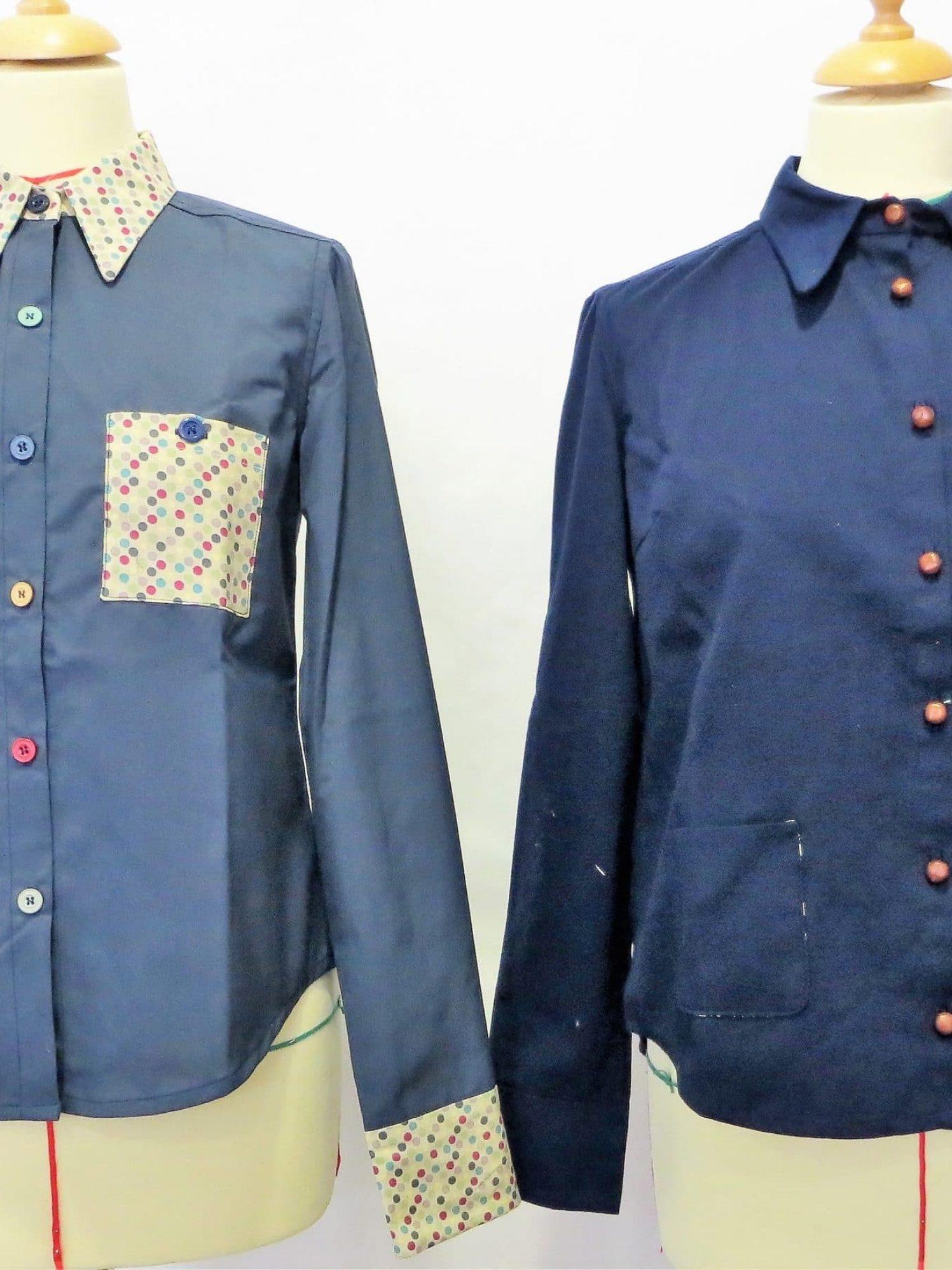 Chemises bleues, manches longues, poche plaquée